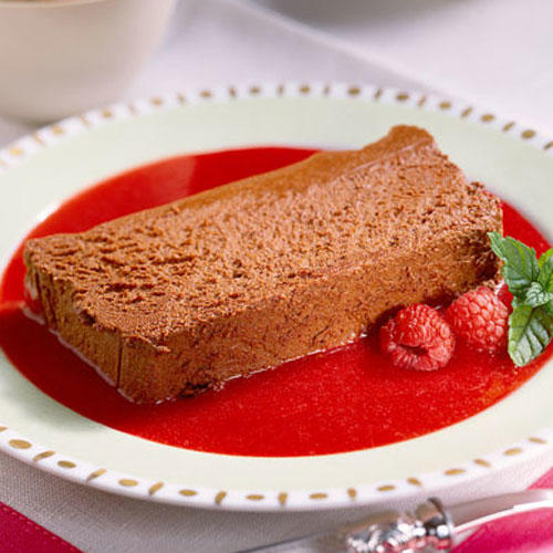 Chocolate Mousse Loaf with Raspberry Purée
