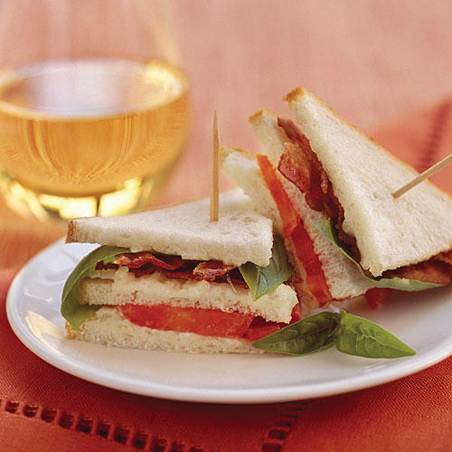 Mini Bacon, Tomato, and Basil Sandwiches