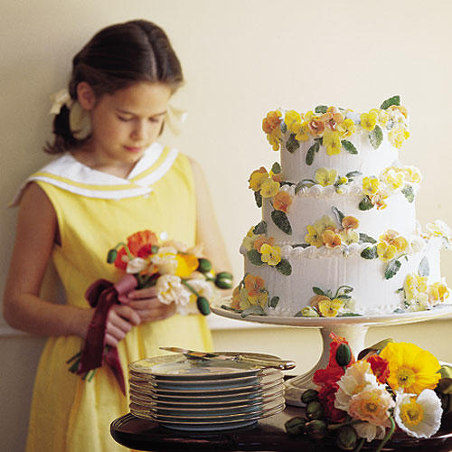 Wedding Cake Decorated With Pansies
