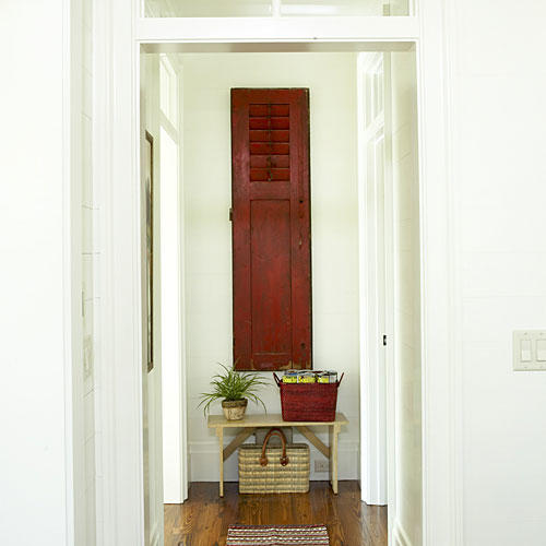 Red Shutters and a Transom
