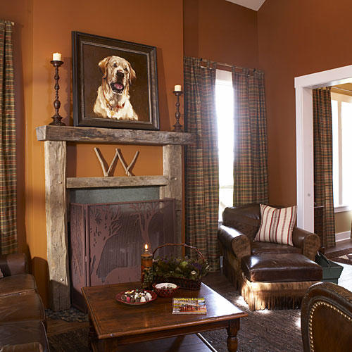 lodge fireplace - Living Room With Fireplace