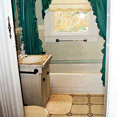 Outdated Bathroom With A Window In The Shower Stall, Yellow Tile On The  Floor And