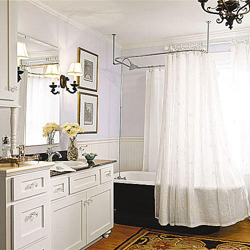 Interior Southern Living Bathrooms bathroom ideas and design southern living airy white remodel with a black clawfoot tub shower curtain and