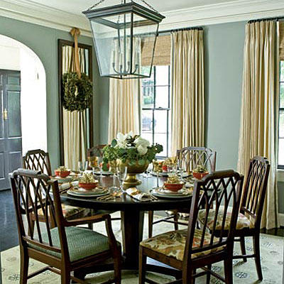 Pale Steel Gray Walls In The Dining Room With Floor To Ceiling Cream Shades