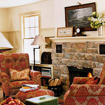 Large, Natural Stones Around The Hearth Update This Fireplaceu0027s Style While  Red And Tan Velvet