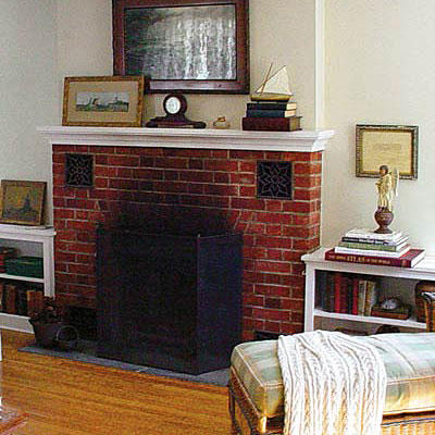 Living room ideas southern living - Red brick fireplace makeover ...