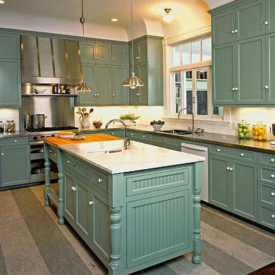 retro mint green kitchen classic cabinets and a kitchen island with a white marble countertop