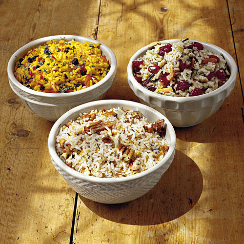 Saffron Rice Pilaf, Pecan Rice, and Cranberry-Almond Wild Rice