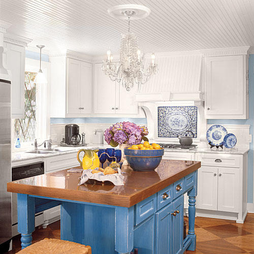 Stylish kitchen island ideas southern living for Slate blue kitchen decor