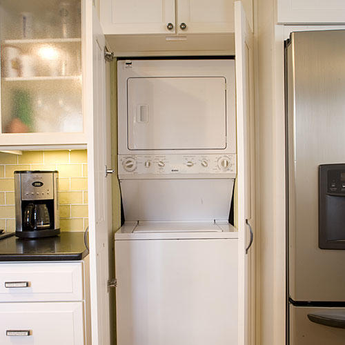 Hide the Laundry Room in Kitchen Cabinets