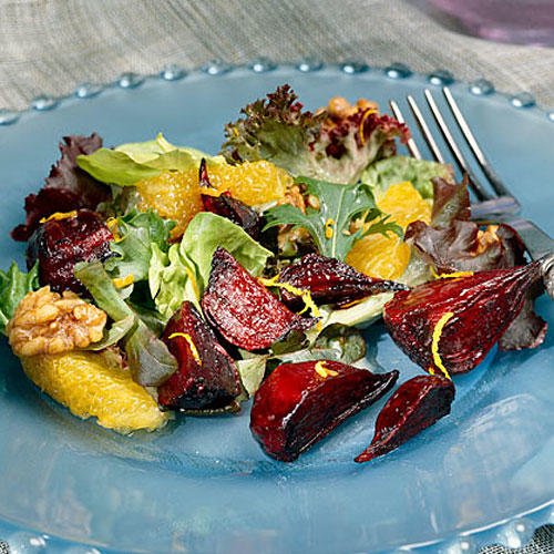 Healthy Food Recipe: Roasted Beet-and-Sugared Walnut Salad With Orange Vinaigrette