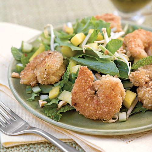 Peanut Shrimp Salad With Basil-Lime Dressing