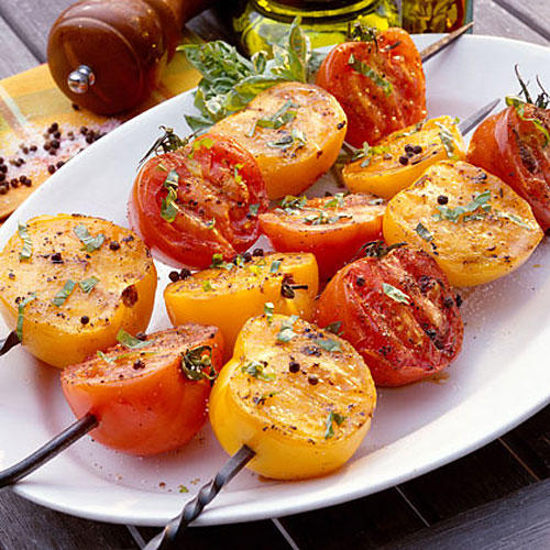 Vegetarian Grilling Recipes: Grilled Tomatoes with Basil Vinaigrette