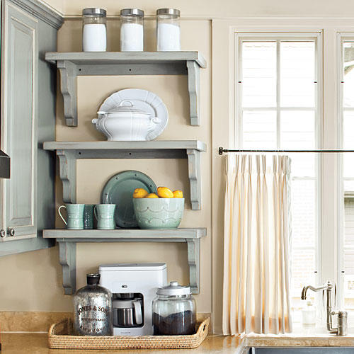 Open Kitchen Shelves Instead Of Cabinets: Organize Your Kitchen