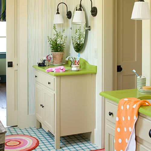 Use Colorful Materials. Simple And Classy Kids Bathroom Design Part 81