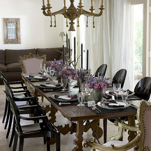 Drape The Dining Room. Mix Sleek And Ornate