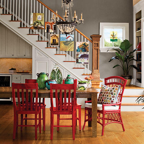 Color Your FurnitureStylish Dining Room Decorating Ideas   Southern Living. Red Dining Chairs And Table. Home Design Ideas