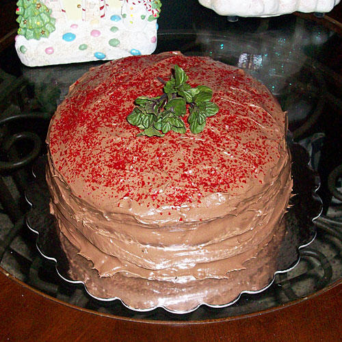 Mocha-Cherry Cake with Mint