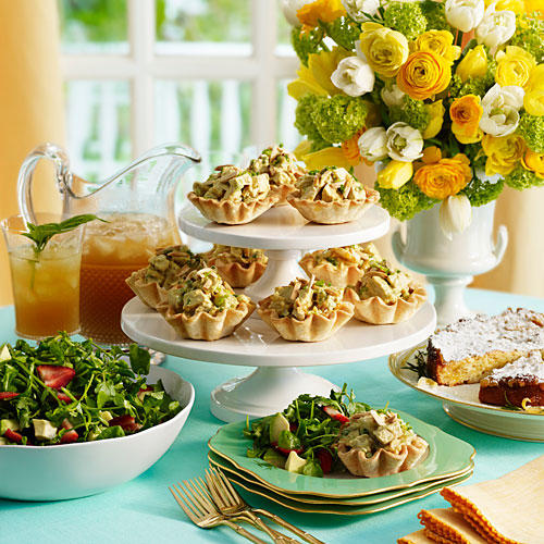 Host a beautiful brunch without all of the hassle. ●Bake the tart shells for Chutney Chicken Salad the day before; store in an airtight container. Warm them in the oven about 3 minutes. ●Blanch green beans and asparagus for Herbed Dip the day before;