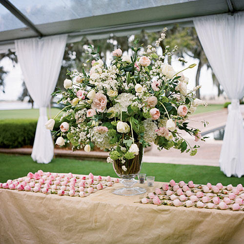 Elegant White and Pink Centerpiece