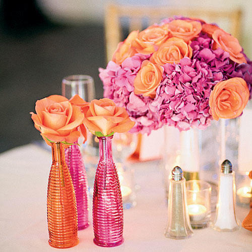 Vibrant Orange and Pink Centerpiece