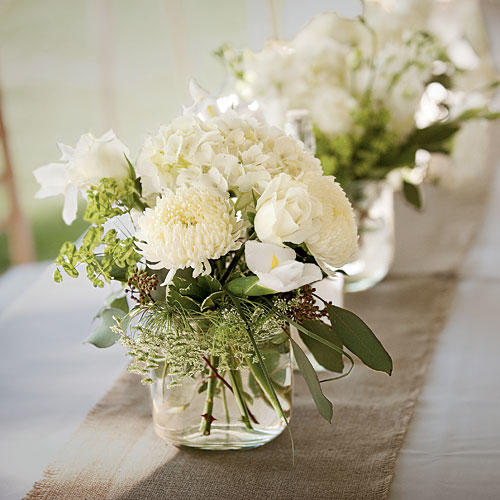 White Centerpieces : Wedding table centerpieces southern living