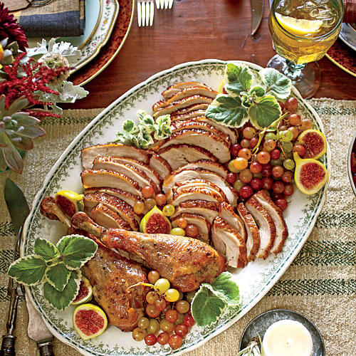 The Linens & Warm u0026 Rustic Thanksgiving Table Setting - Southern Living