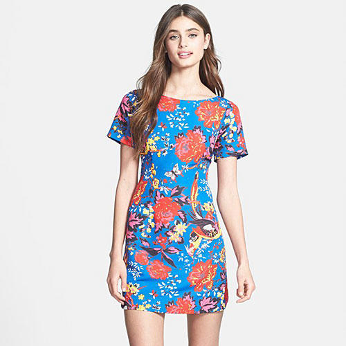 'Frankie' Print Faille Shift Dress