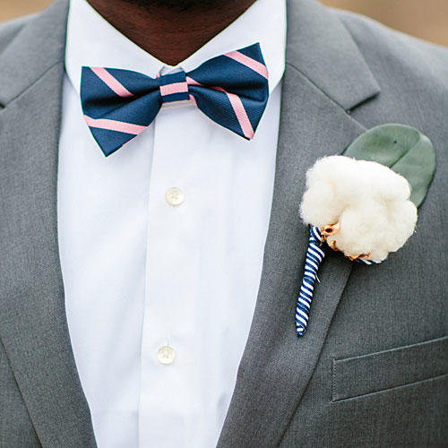 Navy-Pink-Striped Bow Tie