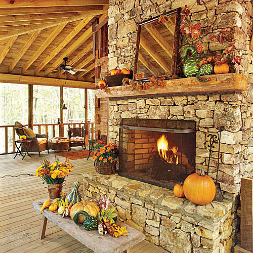 Fall Stone Fireplace