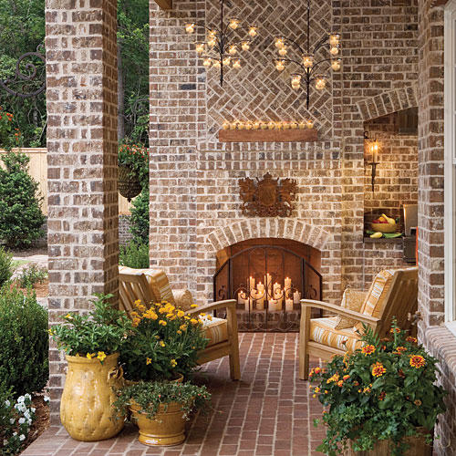 Romantic Outdoor Fireplace