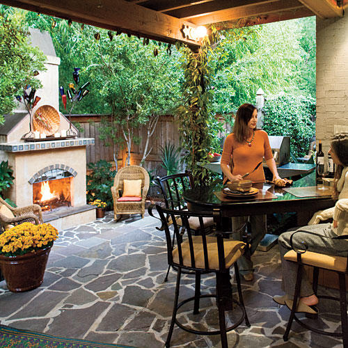 Small Space Outdoor Fireplace