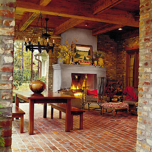 Stucco and Brick Outdoor Fireplace