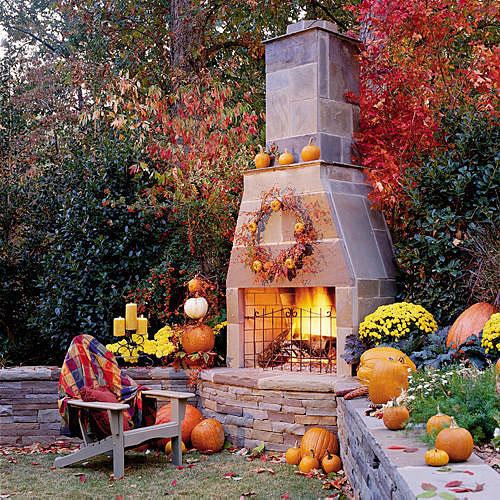 For Outside Fall Decorating Ideas: Glowing Outdoor Fireplace Ideas