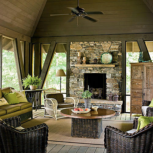 Pool House Outdoor Fireplace