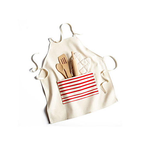 Kids Red Stripe Apron Set