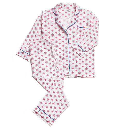 Lorient Long Pajama Set in Rose Snowflake