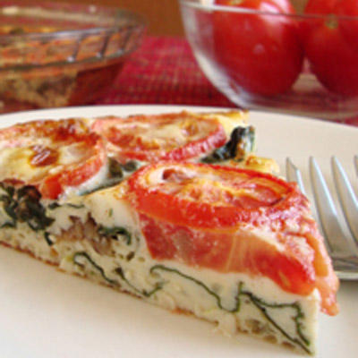 Crustless Swiss Chard Tomato Quiche