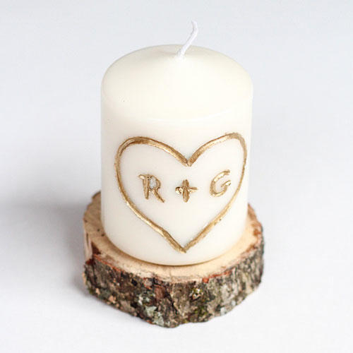 Candle Carved with Initials
