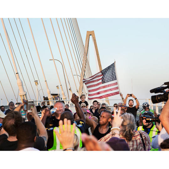 American Flag on Ravenel Bridge March