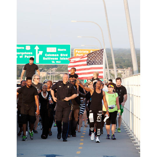 Marching on Ravenel Bridge