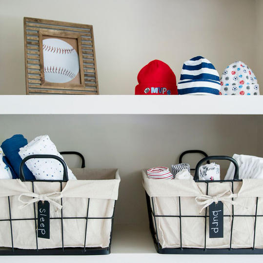 Open Nursery Shelves with Metal Baskets
