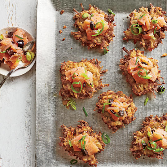 Hanukkah: Mini Latkes With Salmon-Olive Relish