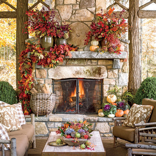 Awesome Outdoor Fireplace With Fall Garland