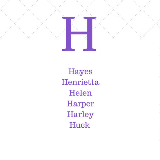 Last Names Beginning With The Letter H