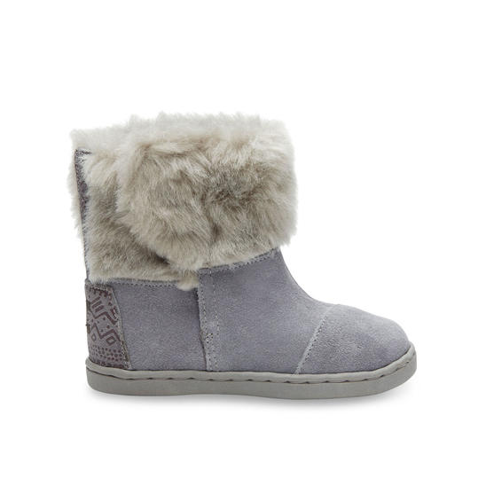 Grey Suede with Faux Fur Tiny Toms