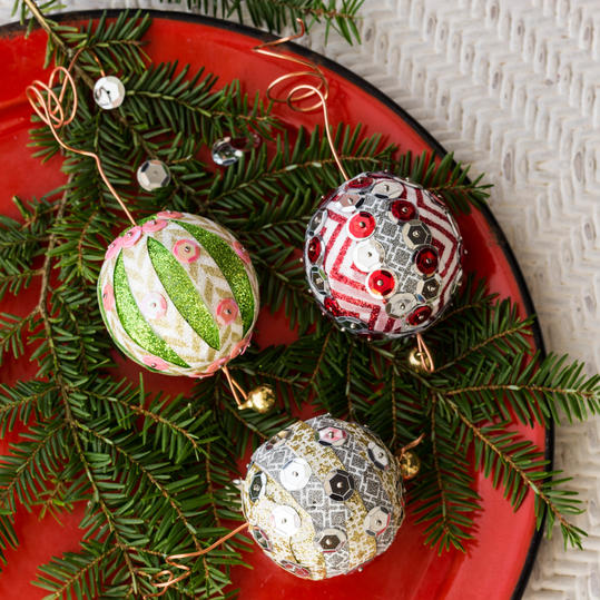 Sequin Christmas Ornament Step 3