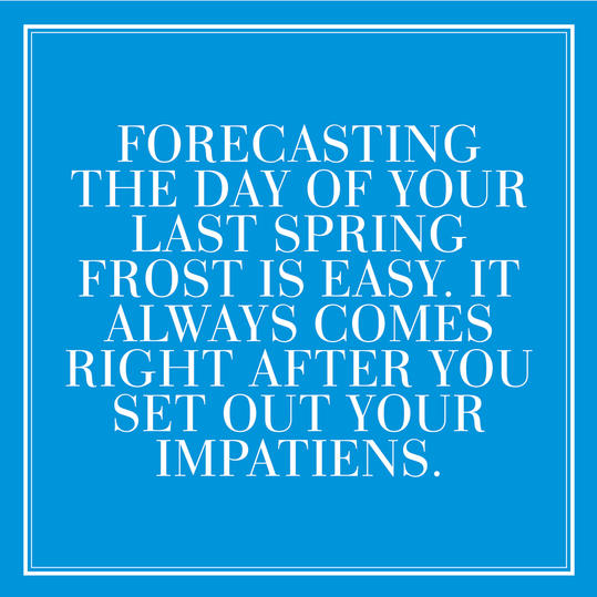 28. Forecasting the day of your last Spring frost is easy. It always comes right after your set out your impatiens.