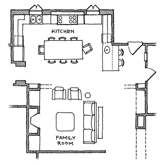 Kitchen with international style southern living for Closed kitchen floor plans
