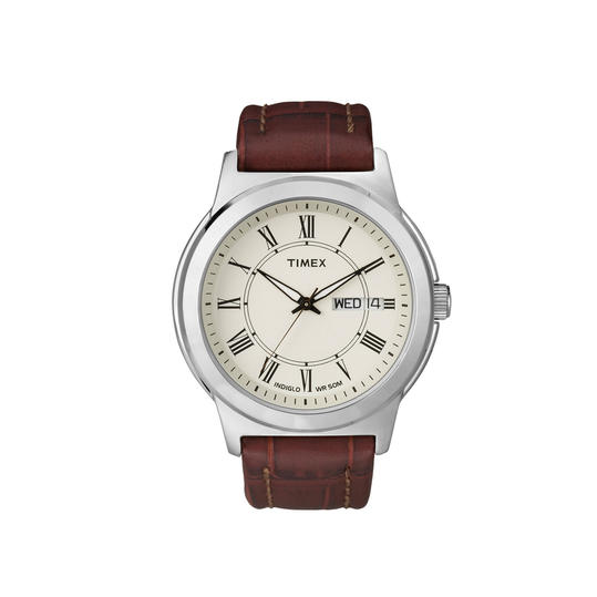 Timex Watch, Men's Brown Croc-Embossed Leather Strap